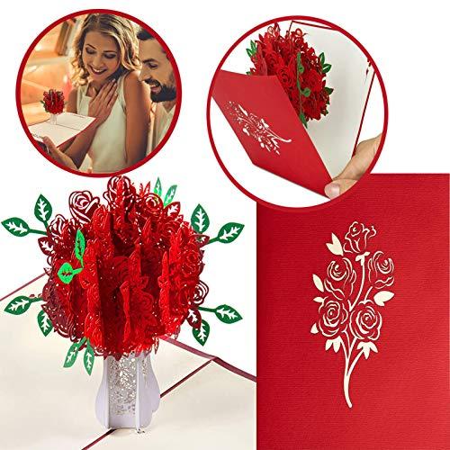 Pop-Up Karte Rosen Romantische Glückwunschkarte Pop up Karte Geburtstagskarte, für Romantische Liebeskarte zum Jahrestag, Hochzeitstag oder Geburtstag für Frau und Mann (Rosenbaum)