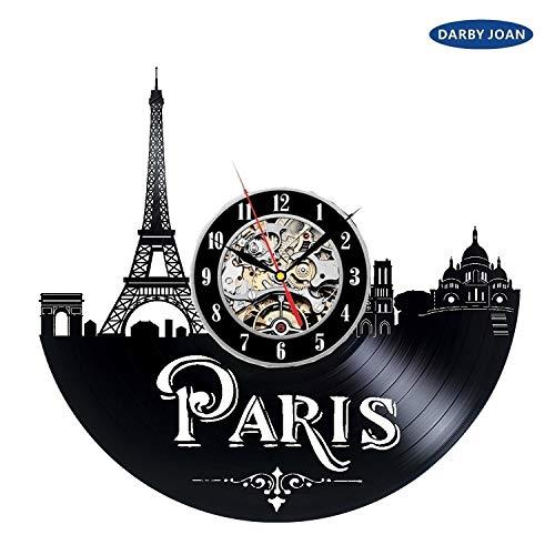 Paris Skyline wandklok met vinylrecord, cadeau-idee voor kinderen, volwassenen, mannen en vrouwen - uniek kunstontwerp