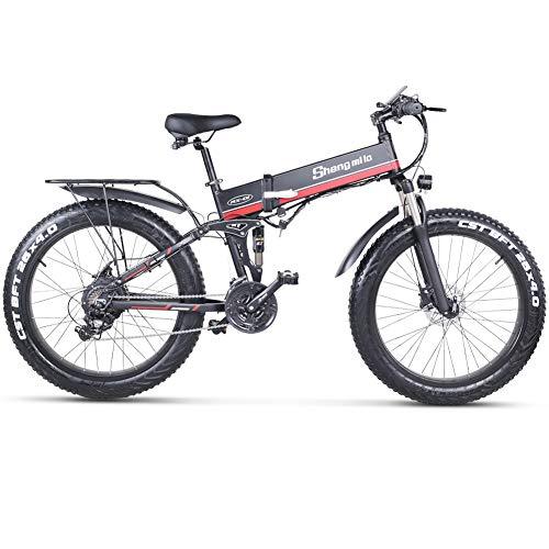 sheng milo Beach Bicicleta eléctrica 26 Pulgadas 1000W Crucero Todoterreno Carreras de montaña 21 velocidades 4.0 neumático Gordo Moto de Nieve Doble Amortiguador