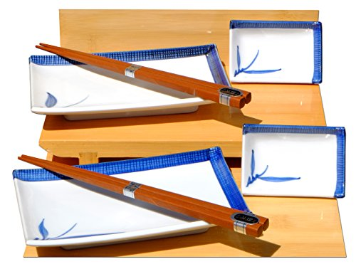 Bleu bambou sushi japonais en céramique pour deux