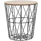 SPRINGOS mesa auxiliar con cesta de alambre y tapa loft mesa de centro Ajour 45 x 40 cm (alto x ancho), cesta para periódicos redonda (negro/natural, 45 x 40 x 40 cm)