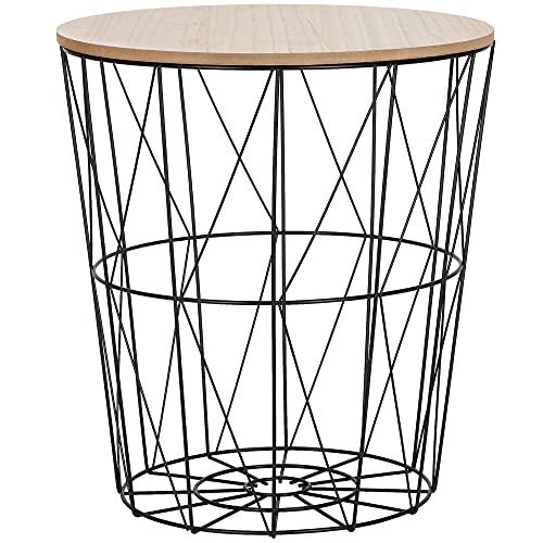 SPRINGOS mesa auxiliar con cesta de alambre y tapa loft mesa de centro Ajour 45 x 40 cm (alto x...