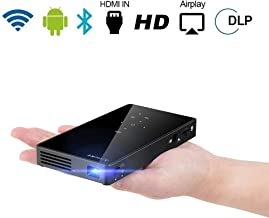 PTVDISPLAY Pocket Portable Mini Projector, 1080P Pico Bluetooth Video Wifi DLP Projector Full HD Support Android 7.1 System HDMI USB TF Card for Home Cinema , Wireless Display for Iphone Home Projecto
