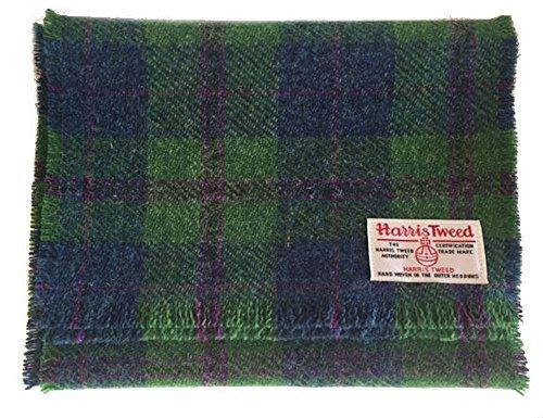 Echt Harris Tweed Wolle Schal in grün und blau