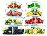 Utopia Kitchen- 16 Piece Glass Food Storage Container (8 containers, 8 transparent lids)- Stackable...