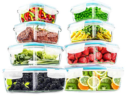 Utopia Kitchen- 16 Piece Glass Food Storage Container (8 containers, 8 transparent lids)- Stackable & Leak-proof- BPA Free locking lids
