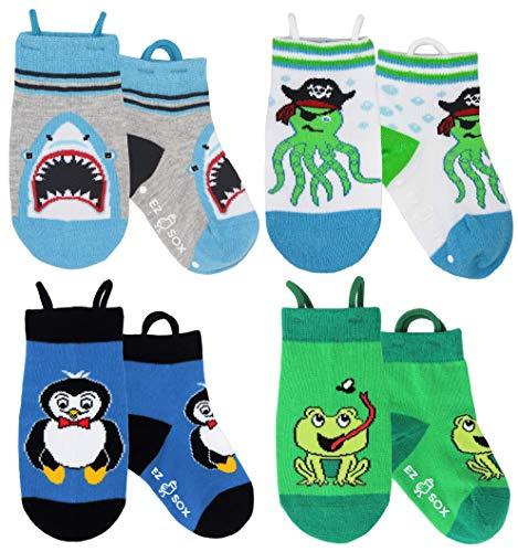 Ez Sox Jungen und Mädchen Kleinkind Socken, (3-5 Jahre, Shark-Octopus-Penguin-Frog)