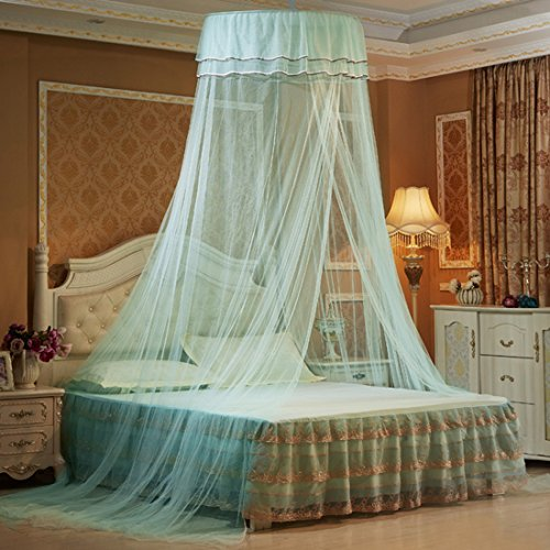 Petforu Mosquito Net Dome, Princess Bed Canopies Netting Elegant Lace with 2 Butterflies for decor - Water Blue
