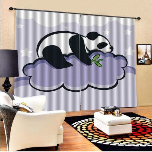Panda Bambus Vorhänge und chinesische Malerei Kunst Kinderzimmer Stoff nach Hause Vorhänge W180cm H220cm