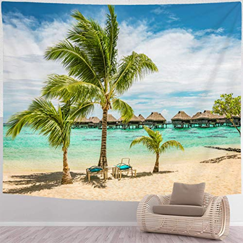 BEISISS Beach Tapestry Home Wall Hanging Nature Art Fabric Tapestry Tropical Beach with Palm Trees and Sun Beds Wall Hanging Tapestries for Living Room and Bedroom,90x70 in