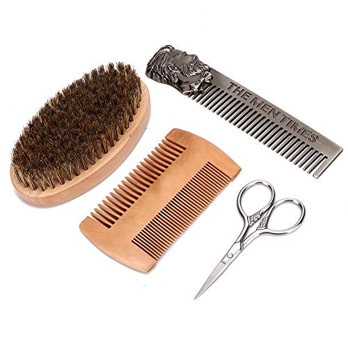 Snor Schaar Set, 4 Stuks Baardverzorging Tool Set Heren Haar Snor Borstel Baard Kam Schaar Styling Set voor het trimmen van wenkbrauw en baard(1#)