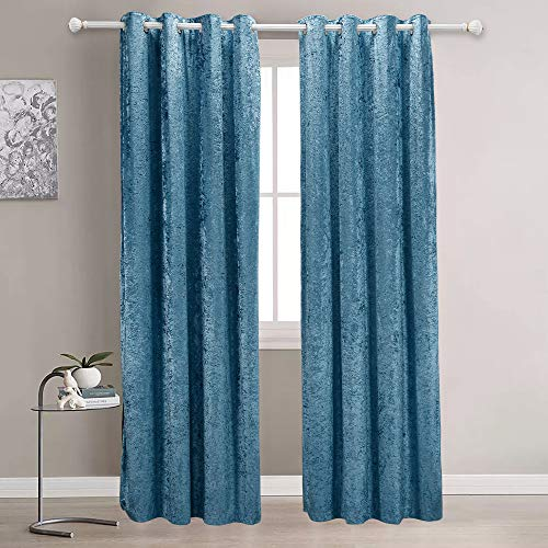 """Best Season Extra Soft Luxury Velvet Blackout Curtains, Room Darkening Blackout Curtain Panels/Drapes/Draperies with Grommets for Kitchen/Bedroom/Windows (52"""" W x 84"""" L, Pink Color, 2 Panels)"""