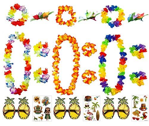Occhiali da Sole Ananas - Hawaiano Lei Fiore Garland Fancy Abito - Tatuaggi - Hairpins per Beach Party Summer Party Decorations Supplies