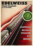 Vintage de viaje Suiza en el EDELWEISS PULLMAN tren de AMSTERDAM a Bruselas, estrasburgo y la bala c1928250gsm brillante Art Tarjeta A3reproducción de póster