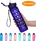 Giotto 32oz Large Leakproof BPA Free Drinking Water Bottle with Time Marker & Straw to Ensure You Drink Enough Water Throughout The Day for Fitness and Outdoor Enthusiasts-Purple