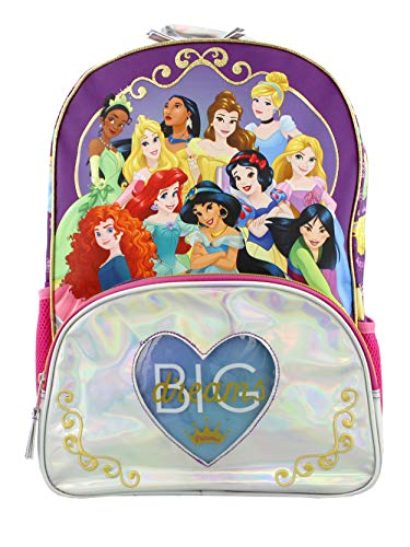 Disney Princess Girl's 16 Inch School Backpack Bag (One Size, Purple/Pink)