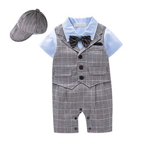 Yilaku Baby Jungen Bekleidung Set, Taufe Junge 3tlg with Fliege + Weste + Hut Gentleman Kurzarm Anzug Outfit für Festlich Geburtstag Hochzeit(Hahnentritt,3-6 Monate)