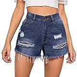 ORANDESIGNE Pantalones Cortos para Mujer Pantalones Cortos de Mezclilla de Cintura Alta Jeans Shorts Rasgados Denim Shorts con Flecos Shorts Elásticos H Azul M