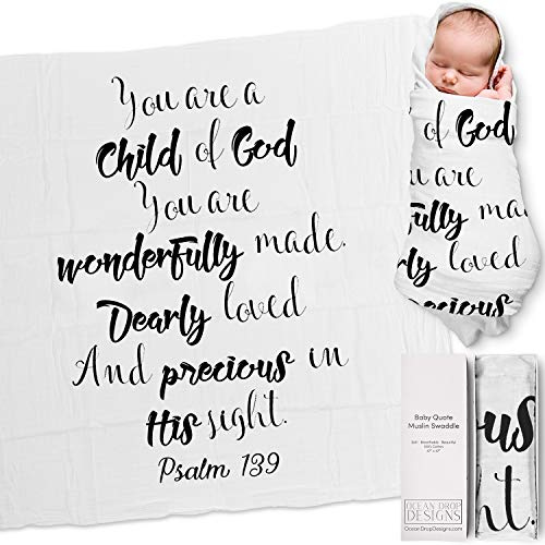 """Ocean Drop 100% Cotton Muslin Swaddle Baby Blanket – 'Child of God' Quote with Gift Box for Baptism, Christening, Godson, Goddaughter, Boy or Girl, Baby Shower – Super Soft, Breathable, Large """"47x47"""""""