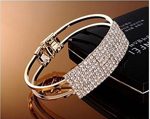 Miya® Luxus Edelstahl Damen Armreif Armband mit volle glänzend Kristallen Strass,Farbe Gold