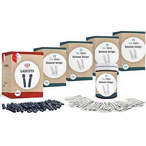 Swiss Point Of Care Ketone Bundle - Teststreifen & Lanzetten in einem Paket  100 Ketone Teststreifen + 100 Lanzetten   zur Überwachung der Ketonwerte mit den Messgeräten von Go-Keto und GK Dual
