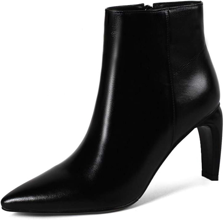 Nine Seven Genuine Leather Women's Pointed Toe High Heel Side Zip Handmade Graceful Dress Ankle Boots