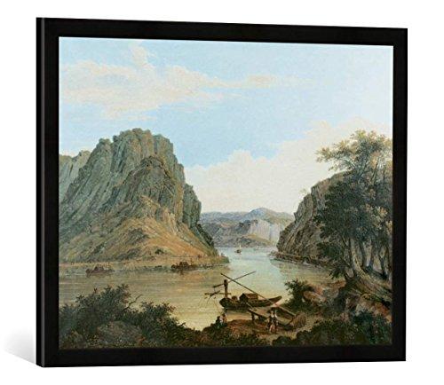 Gerahmtes Bild von Johann Ludwig Bleuler Ansicht des Loreley-Felsens bei St. Goarshausen, Kunstdruck im hochwertigen handgefertigten Bilder-Rahmen, 70x50 cm, Schwarz matt