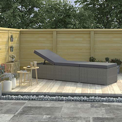vidaXL Tumbona con Cojín de Jardín Sillón Reclinable al Aire Libre Balcón Patio Terraza Sofá Cama de Exterior Cerca de Piscina Ratán Sintético Gris