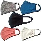 Descena 5 maschere di cotone – Passamontagna in bianco, grigio, viola, turchese, azzurro: protezione per il boccaglio I maschere riutilizzabili lavabile I Spedizione dalla Germania