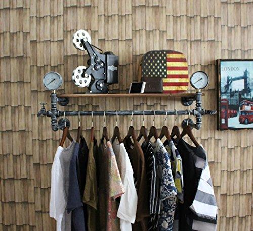 Percheros, Estante para zapatos, Estantería para bolsas, Estantes para tiendas de ropa, Estantería para ropa de hierro retro, Estantería suspendida de madera para montaje en pared ( Tamaño : 120cm )