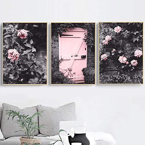 SNGTOW Francia Puerta Rosa Flor Vine Manor Pared Arte Lienzo Pintura Carteles nórdicos e Impresiones Cuadros de Pared para Sala de Estar decoración del hogar | 40x60cmx3 sin Marco
