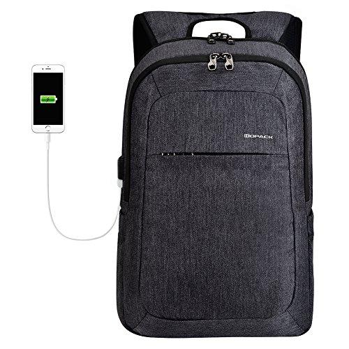 kopack Laptop Backpack Men Women USB Port Slim Business Computer Backpack Anti-Theft Water Resistant Travel Laptop Bag Lightweight 15 15.6 inch Dark Gray