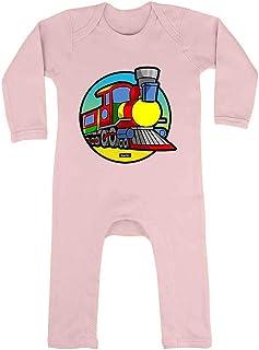 HARIZ HARIZ Baby Strampler Eisenbahn Tut Tut Fahrzeuge Traktor Plus Geschenkkarten Zuckerwatte Rosa 3-6 Monate
