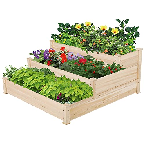 Yaheetech 3 Tier Raised Garden Bed Wooden Plant Raised Bed Elevated Planter...