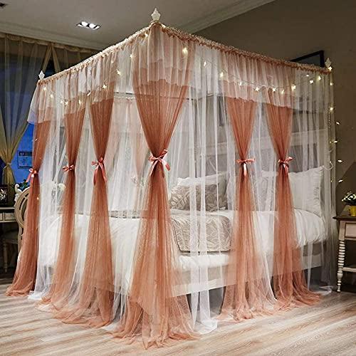 Bed Canopybed Canopy4 Esquinas Poste Post Canopy Cortinas de Cama para niñas Cozy Drape Netting - 4 Aberturas Mosquitera Net - Cute Princess Dormitorio Decoración (Size : 1.8 * 2.2m)