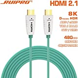 RUIPRO 8K HDMI Fiber Optic Cable 15m HDMI 2.1 48Gbps 8K@60Hz 4K@120Hz Dynamic HDR/eARC/HDCP 2.2 / 3D / Dolby Vision Slim Flexible for HDTV/Projector/Home Theatre/TV Box/Gaming Box (50ft)