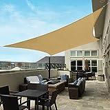 COOLYARD 12'x16' Shade Sails Rectangle 185GSM Sun Shade Canopy Gazebos Patio Covers UV Block for Outdoor Backyard Garden Deck Lawn Carport,Sand