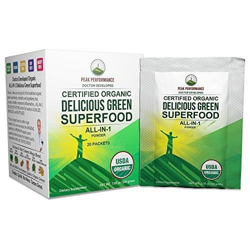 Peak Performance Organic Greens Superfood Powder Single Serve Travel Packets. Best Tasting Organic Green Juice Super Food with 25+ All Natural Ingredients for Max Energy and Detox. (20 Pack)