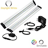 Ultra Thin LED Under Cabinet/Counter Kitchen Lighting Plug-in, Dimmable 2 Coin Thickness LED Light with 42 LEDs, Daylight White Easy Installation 12V/1A 10W/900LM CRI90, 2 Pack, All in Kit