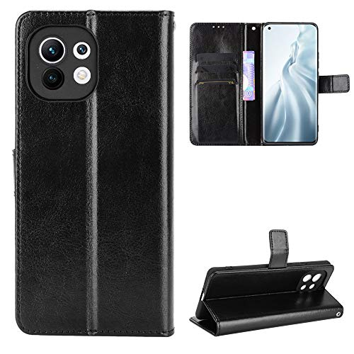 Fitudoos Handyhülle für XiaoMi Mi 11 5G Hülle Leder, Handyhülle für XiaoMi Mi 11 Hülle Leder Flip Hülle Brieftasche Etui Schutzhülle für XiaoMi Mi 11 5G- Schwarz