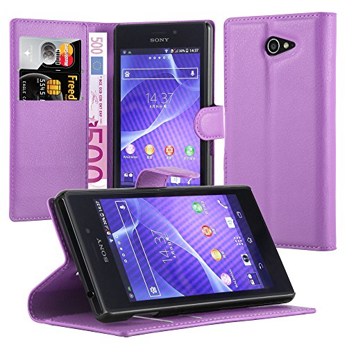 Cadorabo Hülle für Sony Xperia M2 Aqua in Mangan VIOLETT - Handyhülle mit Magnetverschluss, Standfunktion & Kartenfach - Hülle Cover Schutzhülle Etui Tasche Book Klapp Style