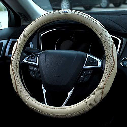 LT Volant en cuir Couvre poignée de voiture Four Seasons Diamètre universel de manche anti-dérapant 38cm / 15 pouces (Color : Beige)