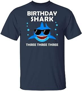 LeetGroupAU Kids 3rd Birthday Boy Shark Three Matching Party Gifts for Kids T-Shirt