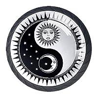 引き出しハンドルは、家庭用キッチンドレッサーワードローブ陰陽シンボル太陽と丸いクリスタルガラスを引っ張る