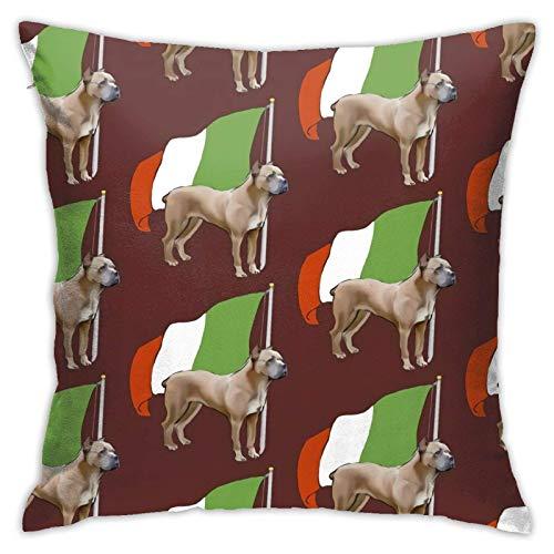 AEMAPE Cane Corso con Bandera Italiana, Fundas de cojín Decorativas para Cojines para niñas y Mujeres, Lindas Fundas de Cojines para sofá, Dormitorio, Coche, 18 x 18 Pulgadas