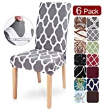SearchI 6 Pack Super Fit Stretch Removable Washable Short Dining Chair Covers Slipcover Protector, Spandex Fabric Chair Cover for Dining Room, Hotel, Ceremony (Y-Gray, 6 per Set)