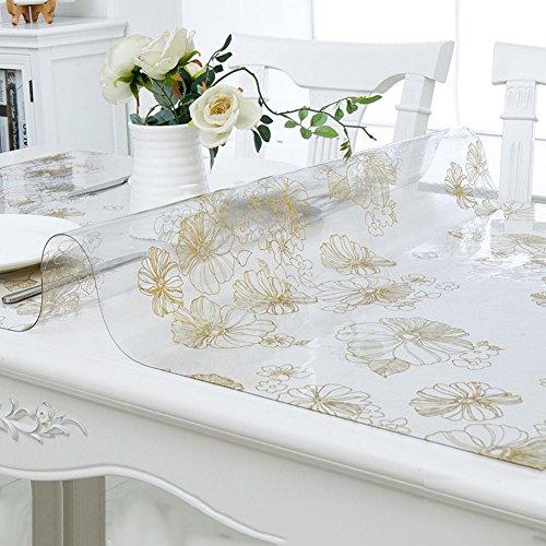 HM&DX PVC Transparent Tischdecken Wasserdicht Ölfreie Anti-heiß Schmutzabweisend Tischtuch schutzfolie Folie Einfache Dekorationen Kaffee Tisch verkleidung-Klar 60x120cm(24x47inch)