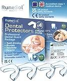 Ferula dental para bruxismo (4)| 100% libre de BPA | Tecnología de fácil moldeado | Paquete de seis protectores dentales en tres tamaños | Protector dental para evitar el rechinamiento (4pk R/G)