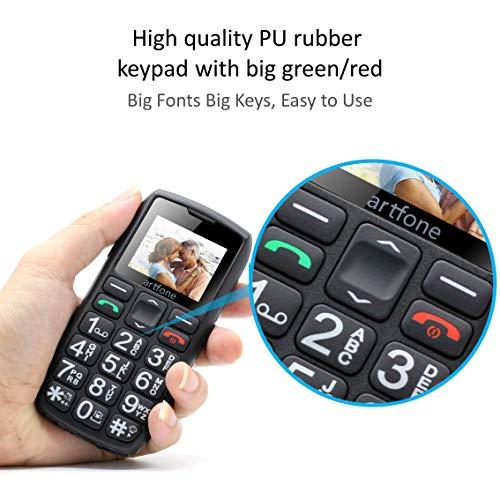 artfone C1+ Seniorenhandy ohne Vertrag | Dual SIM Handy mit Notruftaste | Rentner Handy große Tasten | 1400 mAh Akku Lange Standby-Zeit | Großtastenhandy mit Ladestation | 1,77 Zoll Farbdisplay - 4