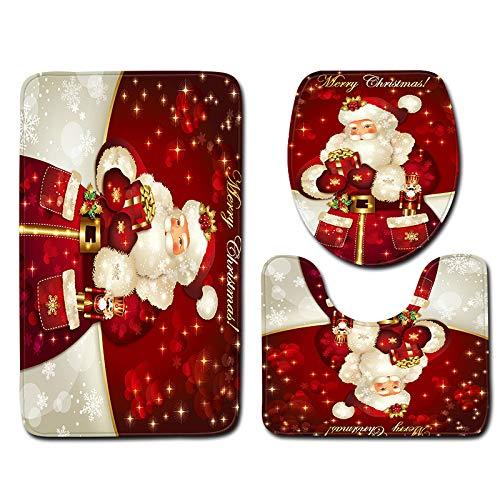 BSRYO - Juego de 3 Alfombrillas de baño Antideslizantes para decoración de Navidad, I, Talla única